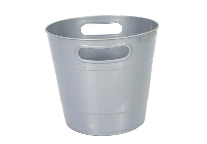 Round Shape Plastic Ice Bucket Dark Silver