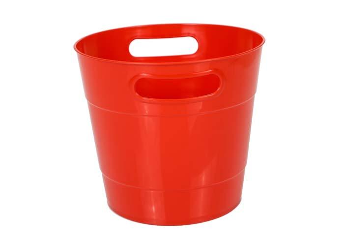 Round Shape Plastic Ice Bucket Red