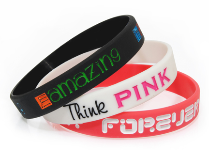 Debossed Silicone Wristbands With Colour Filled 3
